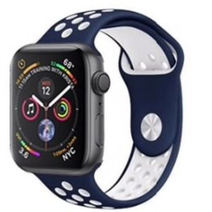 NEW NAVY WHITE Sport Silicone Band For Apple Watch